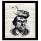 Dictionary Art Print 8 x 10 Grumpy Man With Bird on Head Funny Birthday Gift