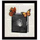 Dictionary Art Print 8 x 10 Collage Butterflies On Diary Illustration Home Decor