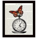 Dictionary Art Print Book Page 8 x 10 Butterfly on Pocket Watch Time Flies