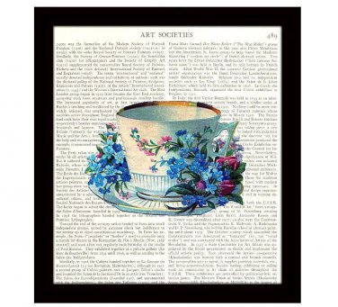 Dictionary Art Print Victorian Teacup Flowers 8 x 10 Kitchen Decor Cottage Chic