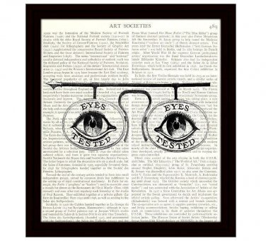 Dictionary Art Print 8 x 10 Victorian Spectacles Eyes Tested Optometry Illustration