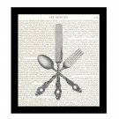 Dictionary Art Print 8 x 10 Victorian Kitchen Art Silverware Knife Fork Spoon