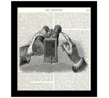 Dictionary Art Print 8 x 10 Steampunk 19th Century Binoculars Camera Invention