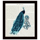 Peacock Dictionary Art Print 8 x 10 Steampunk Collage Wall Art Home Decor