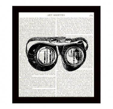 Dictionary Art Print 8 x 10 Steampunk Goggles Victorian Illustration Home Decor