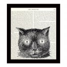 Dictionary Art Print 8 x 10 Steampunk Cat With Clock Eyes Time Travel Decor