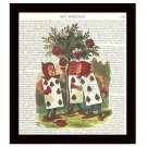 Dictionary Art Print 8 x 10 Alice in Wonderland Playing Cards Painting Red Roses