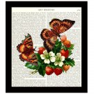 Botanical Dictionary Art Print 8 x 10 Colorful Collage Strawberries Butterflies