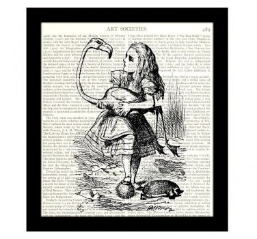 Dictionary Art Print 8 x 10 Alice in Wonderland Alice and the Flamingo