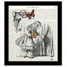 Alice in Wonderland Dictionary Art Print 8 x 10 Alice and Butterflies