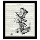 Mad Hatter With Teacup, Dictionary Art Print 8 x 10, Alice in Wonderland Illustration