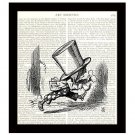 Mad Hatter Running, Dictionary Art Print 8 x 10, Alice in Wonderland Illustration