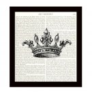 Dictionary Art Print 8 x 10 Victorian Crown Illustration Black and White