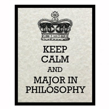 Keep Calm and Major in Philosophy, 8 x 10 Art Print, Light Tan Parchment