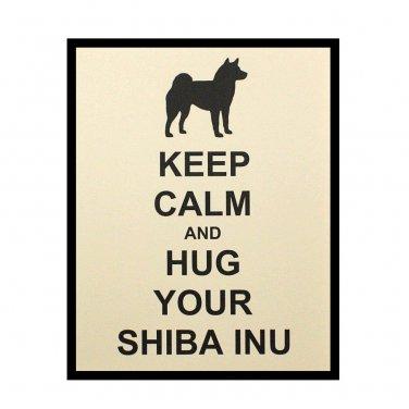 Shiba Inu Keep Calm 8 x 10 Art Print, Dog Silhouette Illustration, French Vanilla