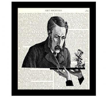 Dictionary Art Print 8 x 10, Alice in Wonderland, Victorian Scientist and the Mad Hatter