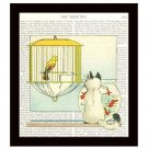 Siamese Cat Dictionary Art Print 8 x 10, Kitten Watching Canary and Fishbowl