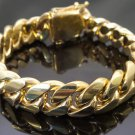 14k Gold Mens Cuban Link Bracelet High Quality Stainless Steel