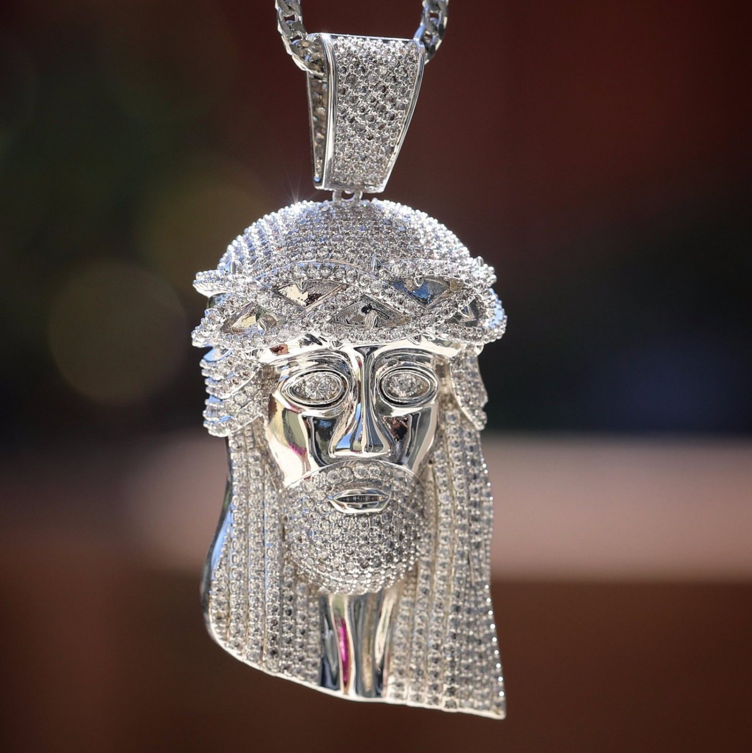 Men's Large Iced Out White Gold Plated Jesus Piece Necklace
