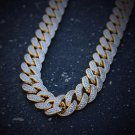 18k Gold And Rhodium Plated Lab Simulated Diamond Cuban Link Chain