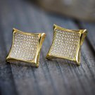 Mens Gold 14K Large Hip Hop Lab Simulated Diamond Earrings