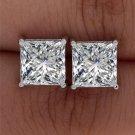 Square Princess Cut Solitaire Simulated Lab Diamond Stud Earrings