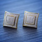 Men's Hip Hop Solid 14k Gold Large Square Screw Back Earrings Size 15mm