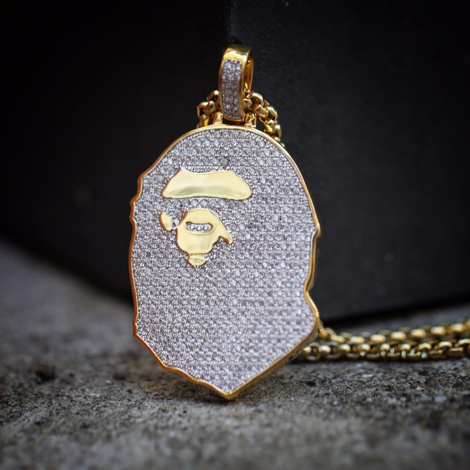 Mens's Iced Out 14k Gold Ape Pendant And Chain Necklace