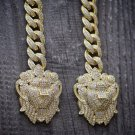 Fully Iced Out Gold Double Lion Head Cuban Link Chain