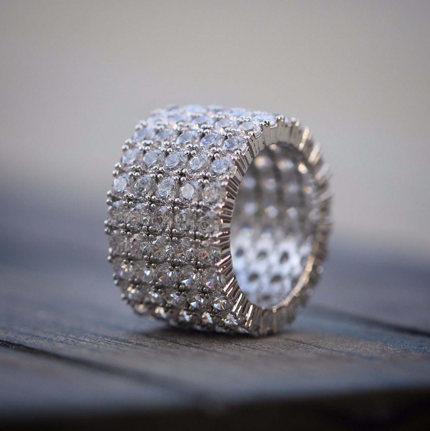 Men's Iced Out Lab Simulated Diamond White Gold Plated Statement ring