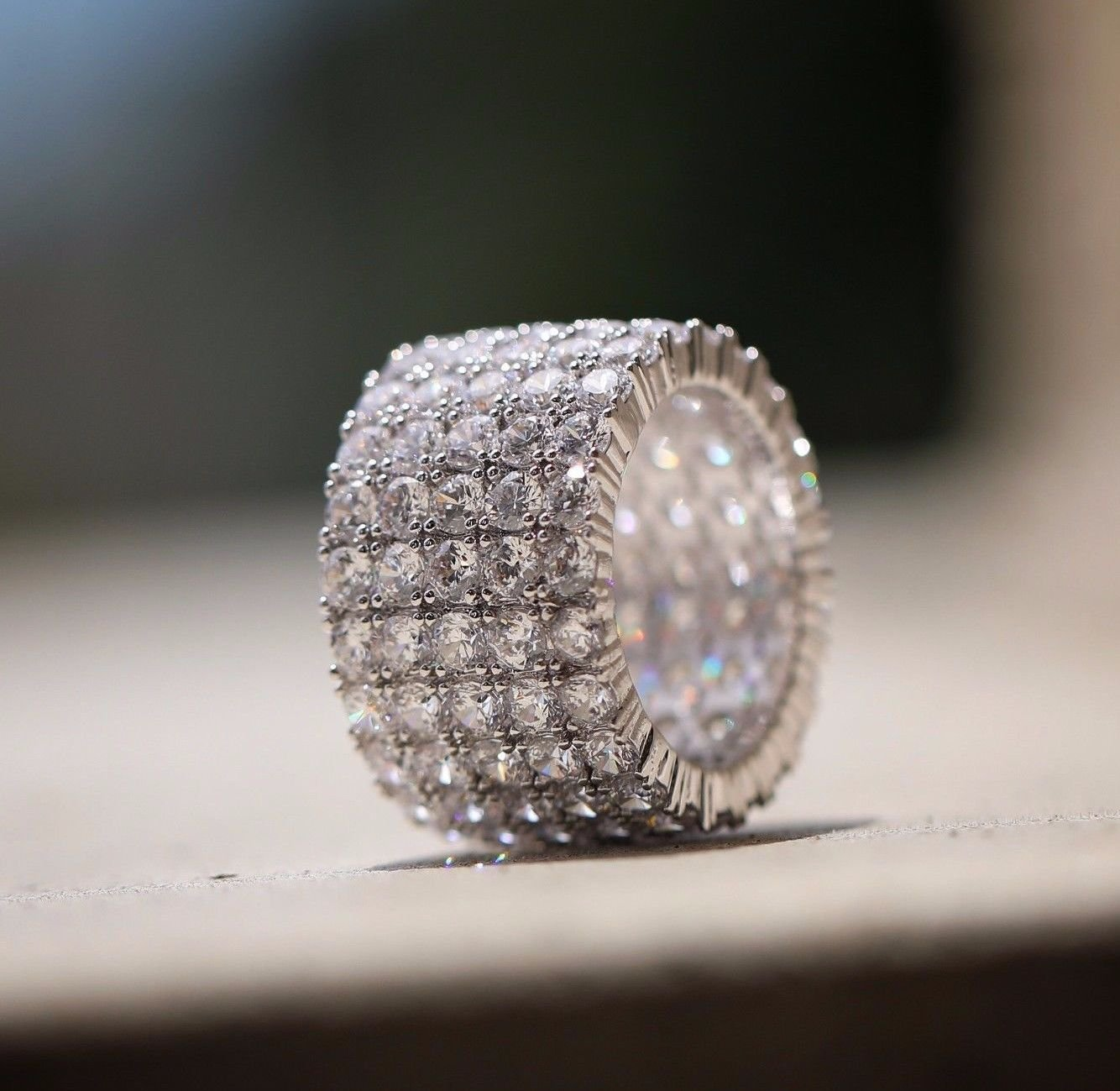 White Gold Micro Pave High Quality Mens Diamond Ring