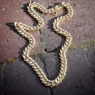 Fully Iced Out Mens Miami Gold Diamond Cuban Link Chain