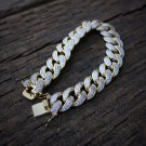 Hip Hop Gold Cuban Link Bracelet Fully Iced Out Lab Diamonds High Quality