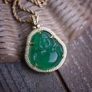 Hip Hop Green Jade Buddha Pendant Necklace Iced With Lab Diamonds