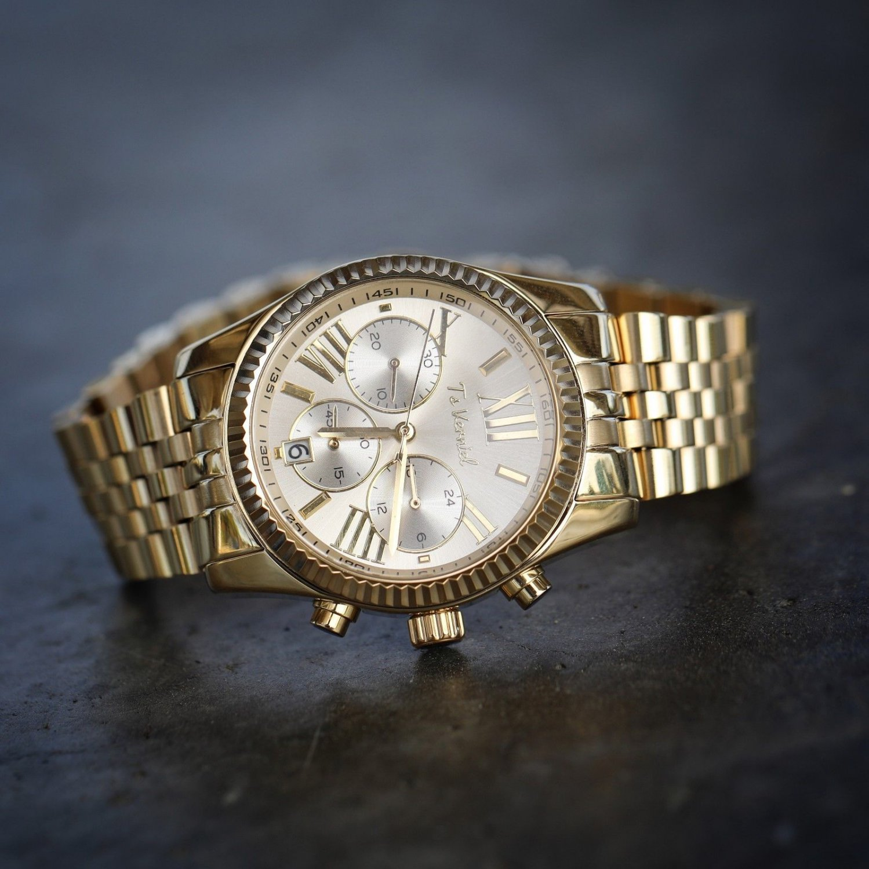 Men's Women's Gold Stainless Steel Presidential Watch