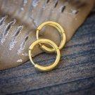 Men's Gold 10mm Hoop Earrings 925 Sterling Silver