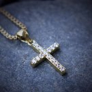 Hip Hop Mini Micro Gold Cross Pendant With 24 Inch Box Chain