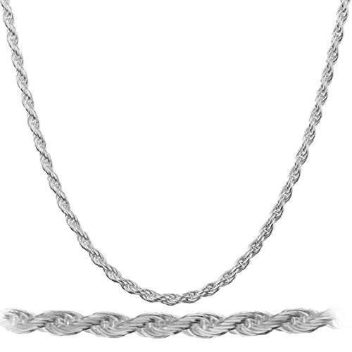 "Men's White Gold Plated 316 Stainless Steel Rope Chain 20""- 30"""
