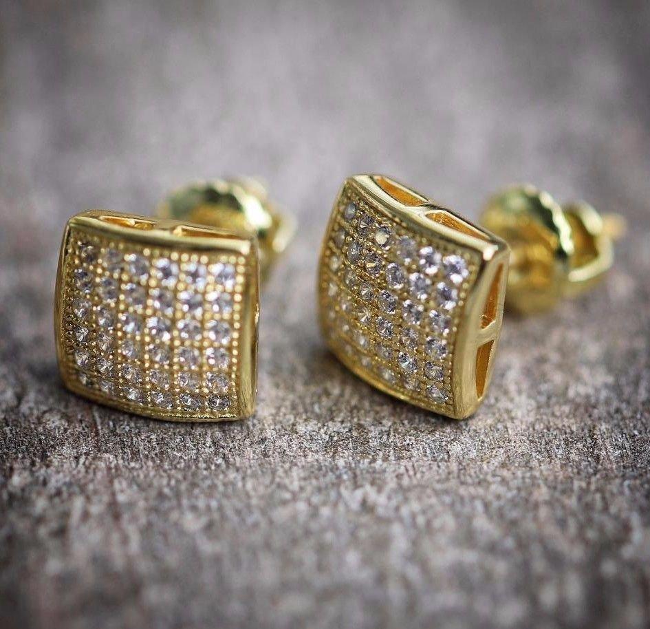NEW MENS 14K YELLOW GOLD LAB DIAMOND SCREW BACK STUD EARRINGS
