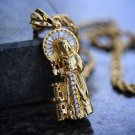 18k Gold Plated Jesus Piece Necklace With Rope Chain