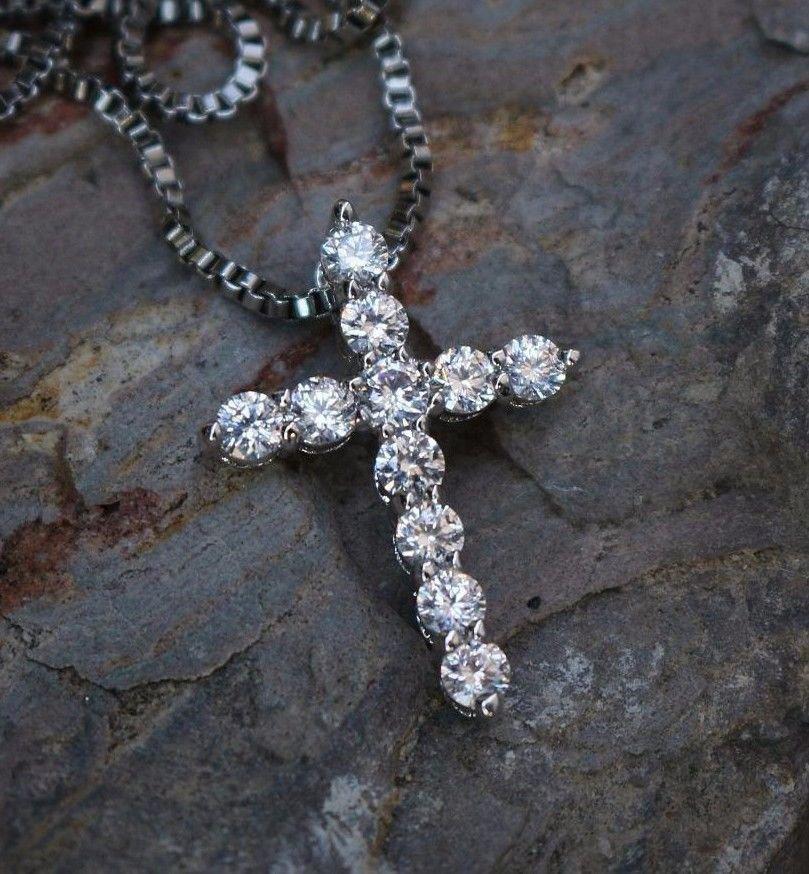 Mini Micro White Gold Cross Charm Pendant With 20 Inch Box Chain Necklace
