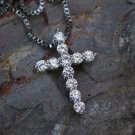 Mini Micro White Gold Cross Charm Pendant With 20 Inch Box Chain Necklace