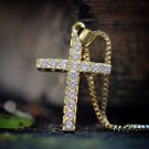 Hip Hop Gold Cross Pendant And Chain Necklace