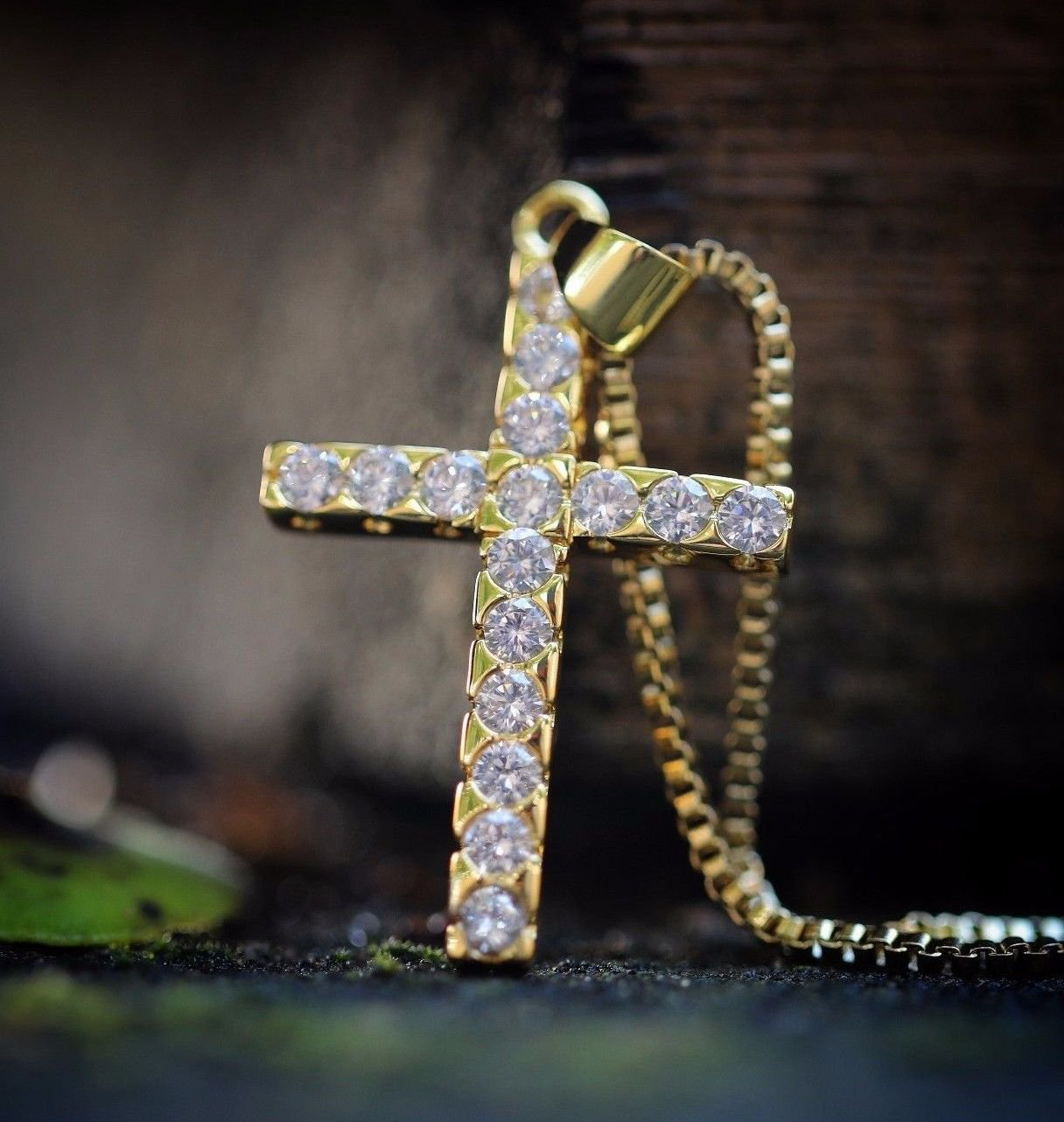 Mens Mini Gold Cross Pendant And Chain Necklace