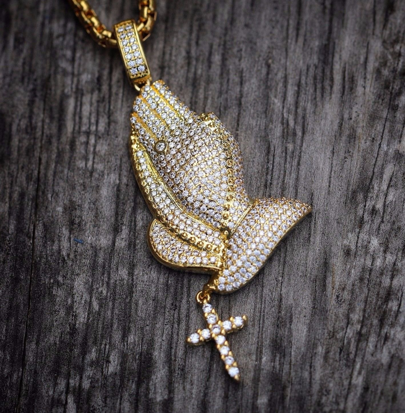 18k Gold Iced Out Praying Hands With Cross Pendant Necklace
