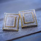 Gold Hip Hop Mens Square Shape Stud Earrings