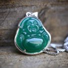 White Gold Plated Green Jade Buddha Pendant and Box Chain