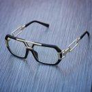 Retro Clear Square Frame Matte Black Gold Glasses