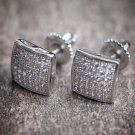PRINCESS CUT STUD EARRINGS SCREW BACK 14K WHITE GOLD