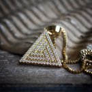 14k Gold Iced Out Hip Hop Egyptian Pyramid Pendant Necklace Set
